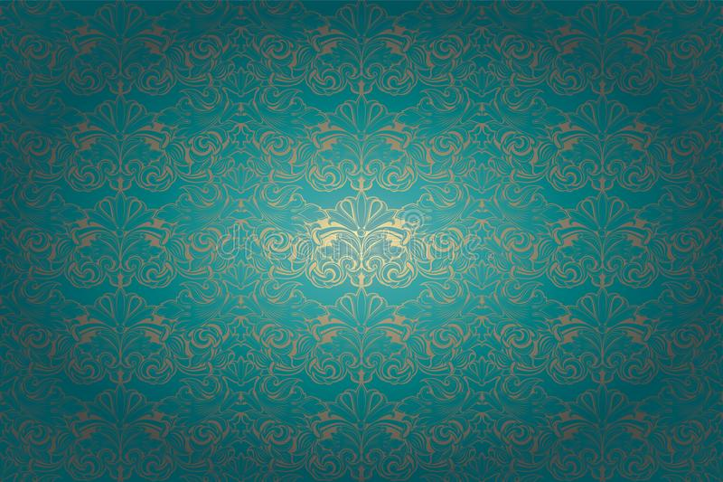 Vintage Gothic horizontal background in turquoise with gold with classic Baroque pattern. Rococo with darkened edges, horizontal format stock illustration