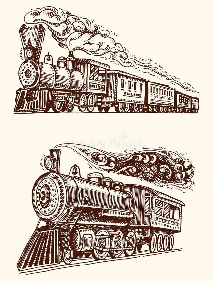 Vintage grabado, locomotora de la mano o tren dibujada, vieja con vapor en ferrocarril americano Transporte retro stock de ilustración