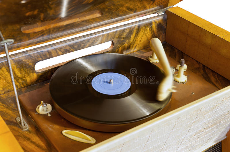 Vintage gramophone. Playing a record stock photo