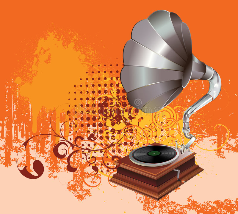 Vintage gramophone. With grunge and floral elements royalty free illustration