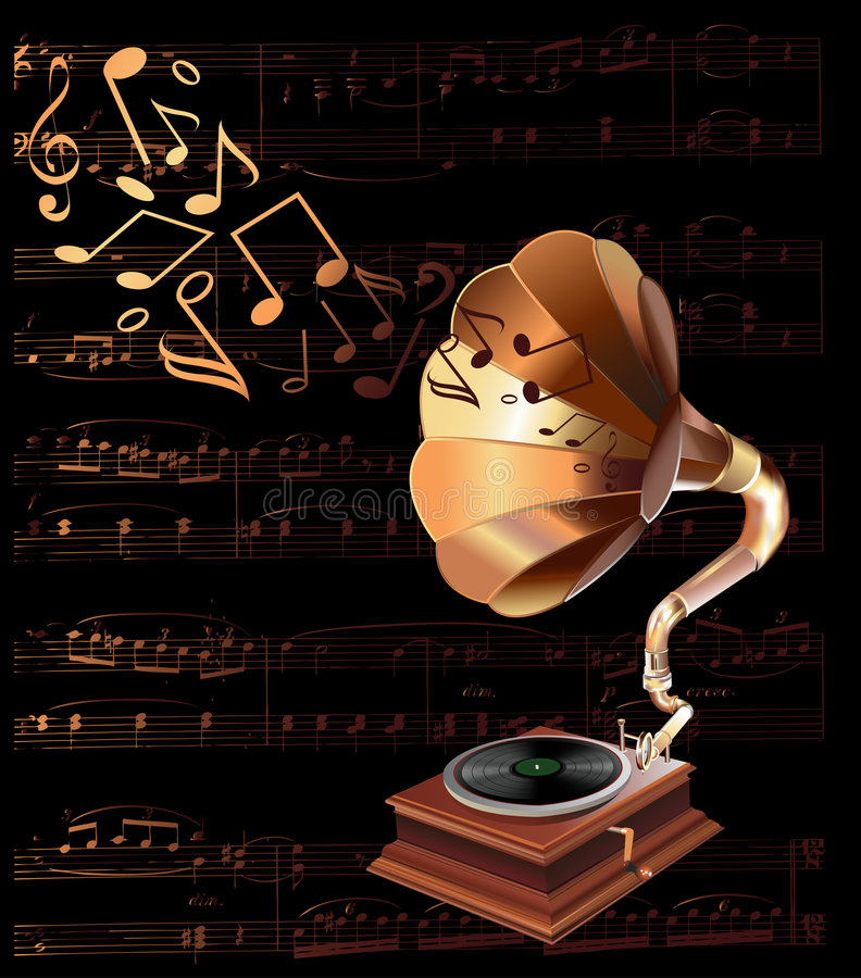 Vintage gramophone. Realistic illustration.Retro colors and atmosphere royalty free illustration