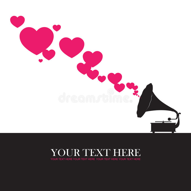 Vintage gramophone with hearts. Abstract vector illustration. Place for your text royalty free illustration