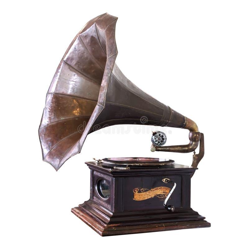 Vintage gramophone isolate on white royalty free stock photo