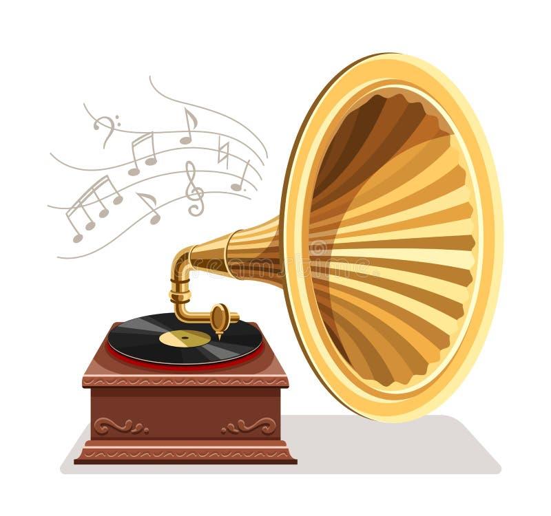 Vintage gramophone with retro vinyl disc. Vector illustration. stock image