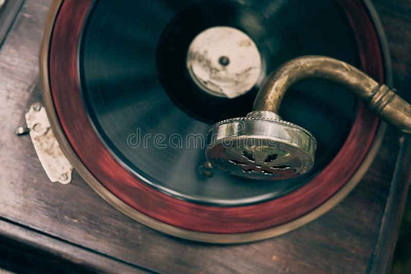 Vintage gramophone turntable vinyl record player royalty free stock photos