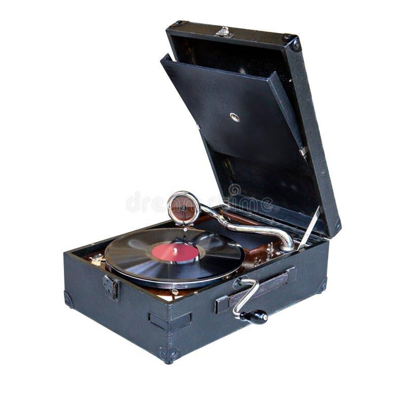 Vintage gramophone. White background stock images