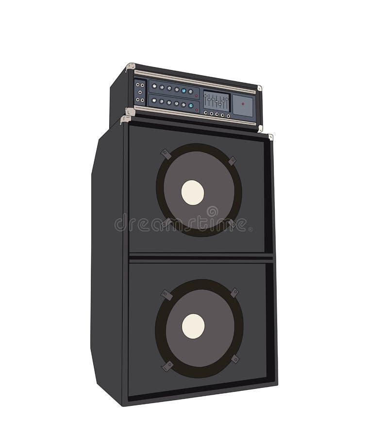 Vintage grande Bass Amplifier Vetora ilustração stock