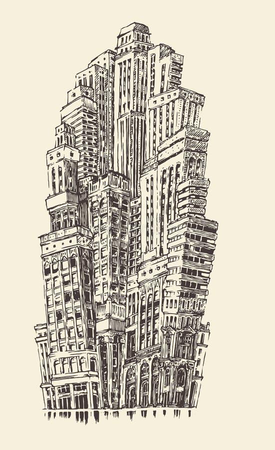 Vintage grande da arquitetura da cidade dos arranha-céus gravado ilustração do vetor