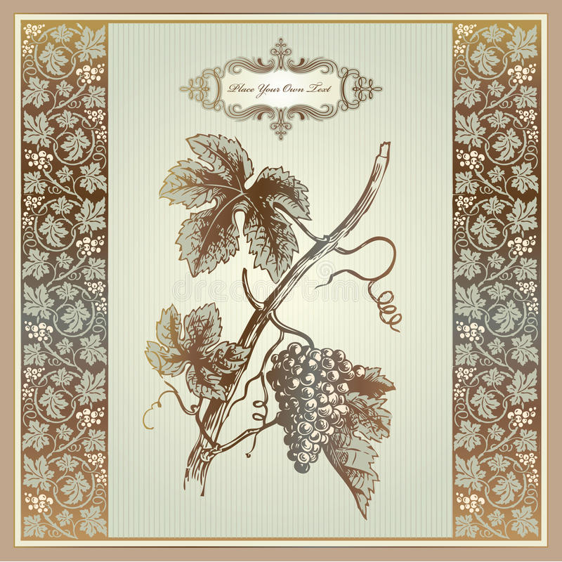 Vintage grape elements for wine label, menu, print stock illustration