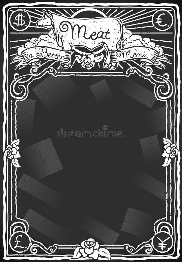 Download Vintage Graphic Blackboard For Meat Menu Stock Photo - Image: 30355912
