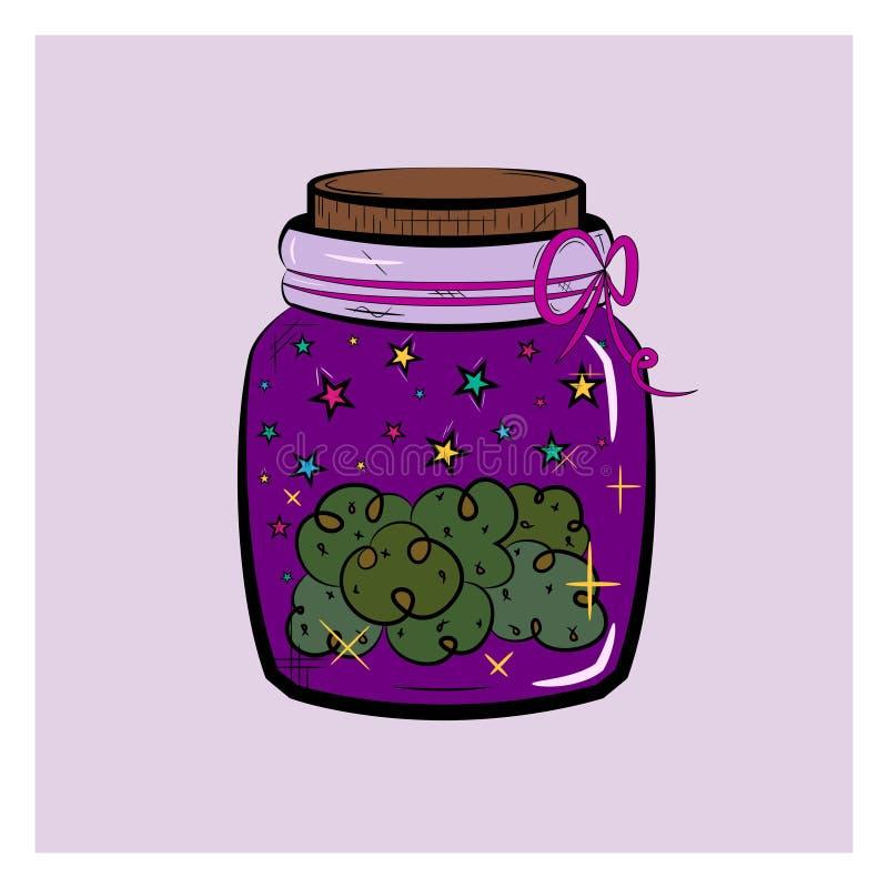 Vintage graphic icon. Green cannabis marijuana hemp medical weed in jar. Graphic design. Violet background royalty free illustration