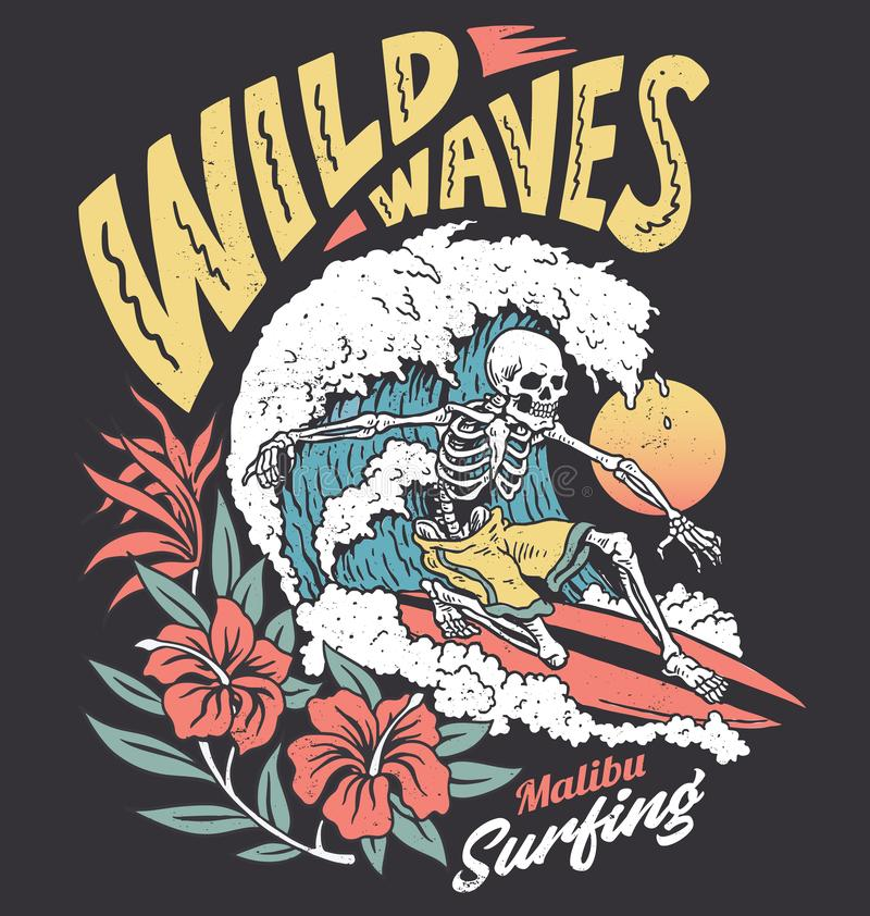 Free Vintage Graphic Of A Surfing Skeleton With Hibiscus Flowers Stock Images - 163025714