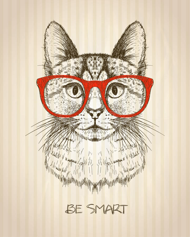 Vintage graphic poster with hipster cat with red glasses. royalty free illustration