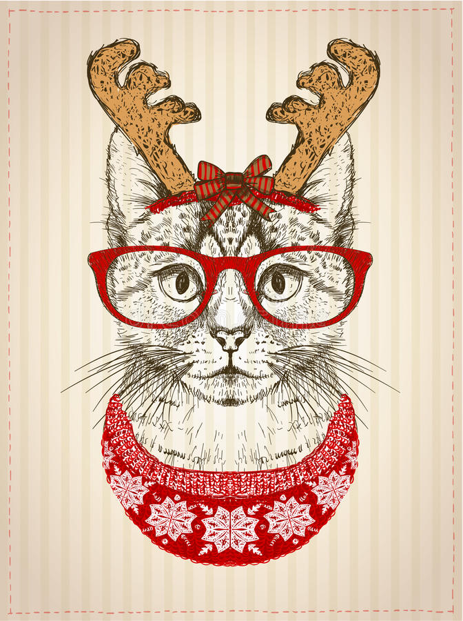 Vintage graphic poster with hipster cat with red glasses, dressed in deer horns hat and red knitted sweater stock illustration