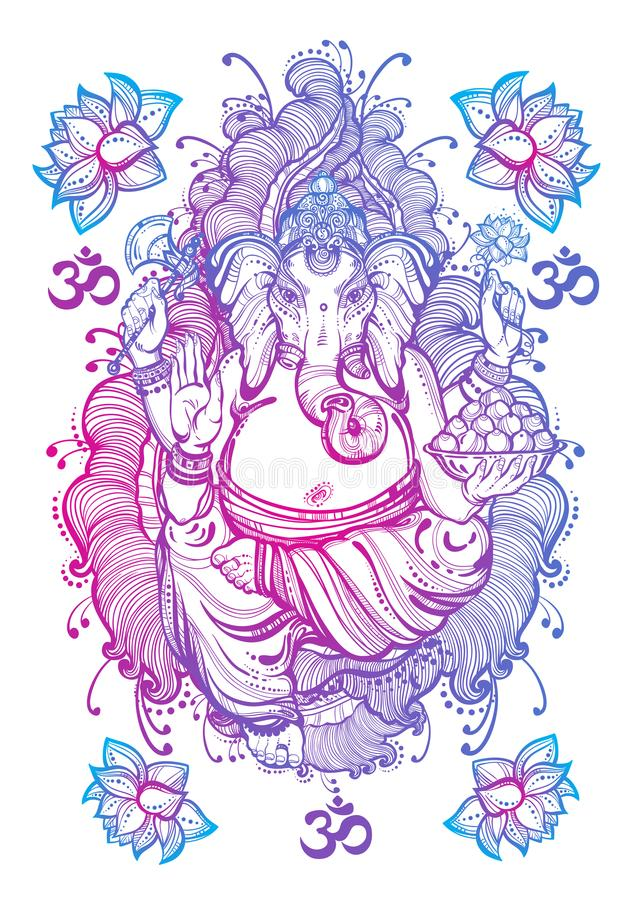 Vintage graphic style Lord Ganesha isolated artwork. High-quality vector illustration, tattoo art, yoga, Indian, spa, religion. stock illustration