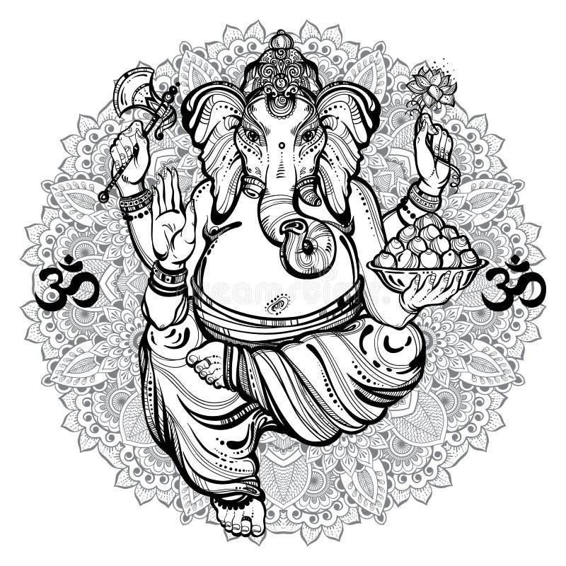 Vintage graphic style Lord Ganesha. Mandala, round ornasment pattern around. High-quality vector illustration, tattoo art, yoga. stock illustration