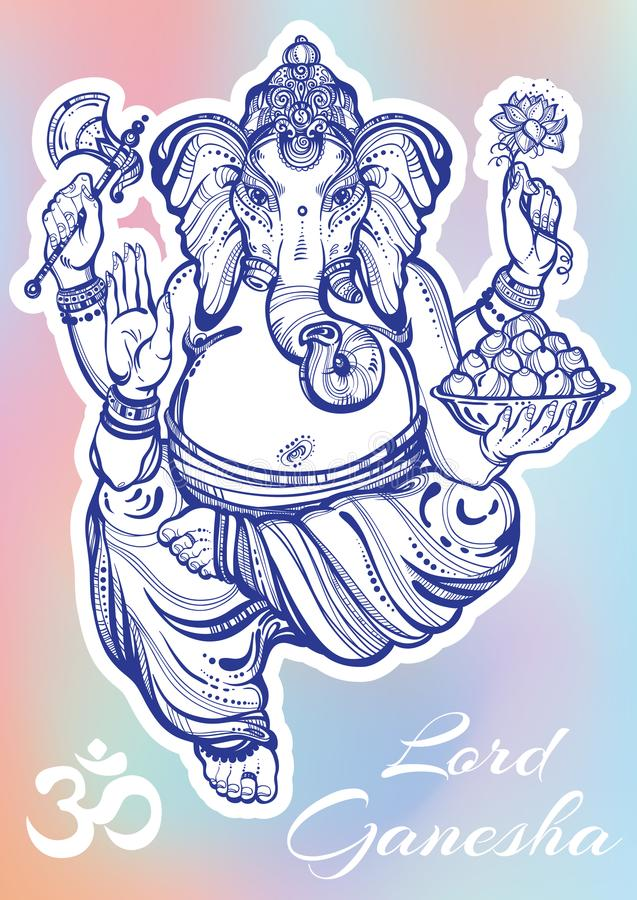 Vintage graphic style Lord Ganesha over colorful background. High-quality vector illustration, tattoo art, yoga, Indian, spa. royalty free illustration