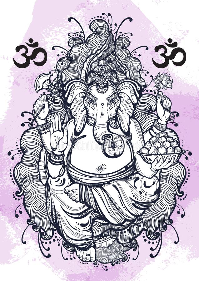 Vintage graphic style Lord Ganesha on watercolor background. High-quality vector illustration, tattoo art, yoga, Indian, spa. stock illustration