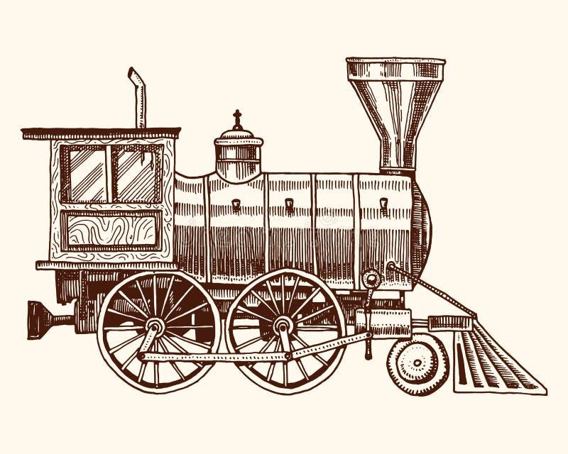 Vintage gravado, locomotiva da mão ou trem tirado, velho com vapor na estrada de ferro americana Transporte retro ilustração royalty free