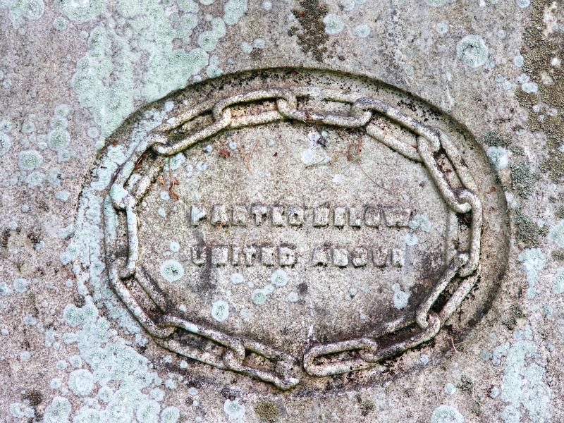 Vintage gravestone inscription circle marking. Broken Ring - Family Circle Severed. Chain - Means truth. Parted Below - United Above. Female died 1854 at 46 royalty free stock photography
