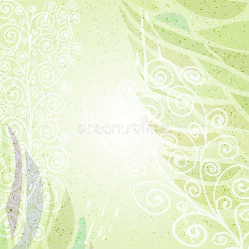 Vintage green abstract floral background left stock illustration