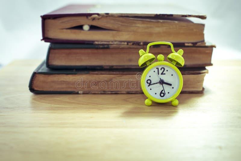 Vintage of green alarm clock stock photo