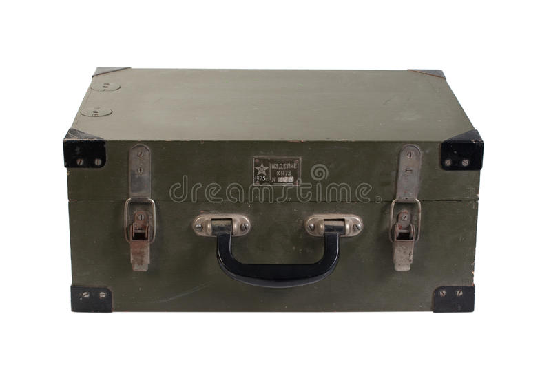 Vintage green army box of ammunition. Isolated stock image