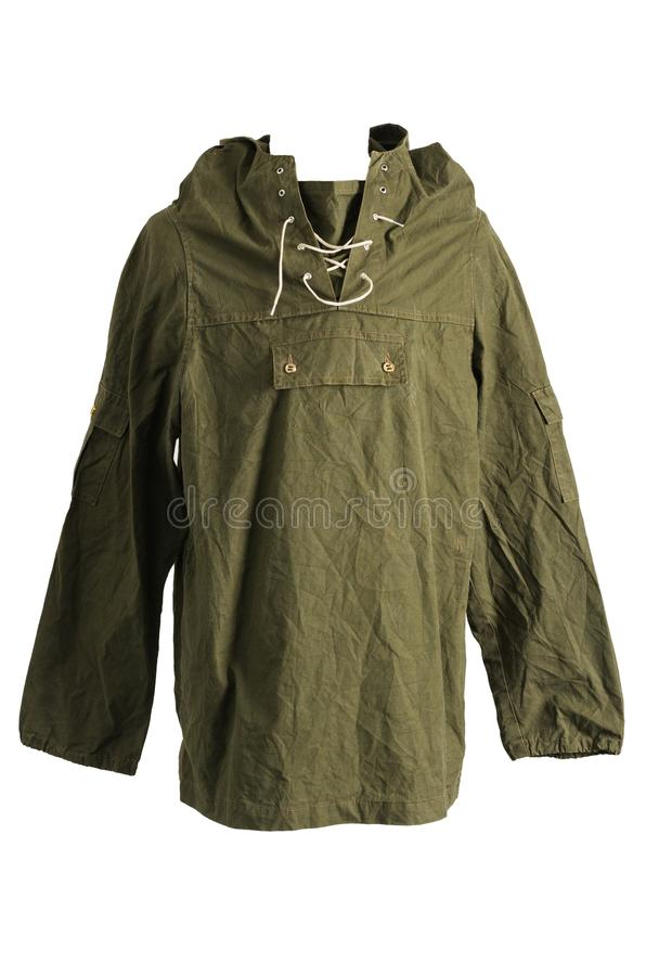 Green Army Smock Parka Jacket Front on White Background. Vintage Green Army Smock Parka Jacket Front on White Background Isolate stock image
