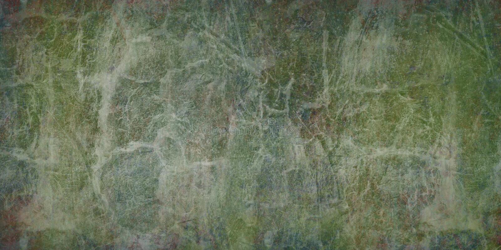 Vintage, green, craft background with grunge texture cracks. Blank abstract backdrop - illustration. royalty free stock photo