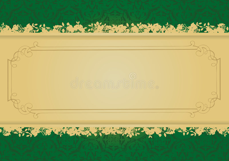 Vintage Green and Gold decorative banner vector royalty free illustration