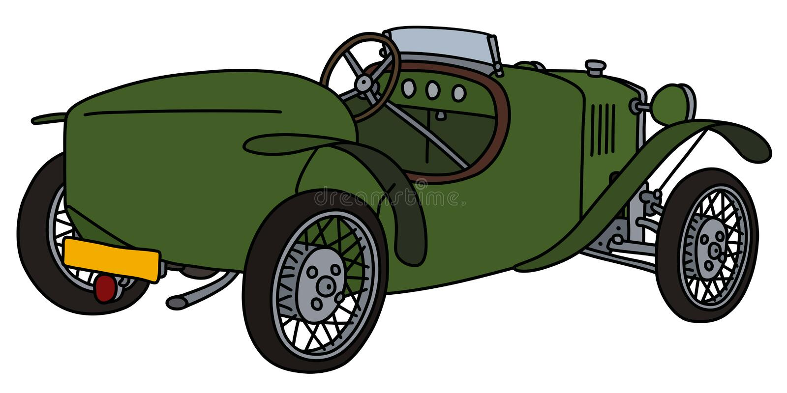 The vintage green roadster. The vectorized hand drawing of a vintage green sports car stock illustration
