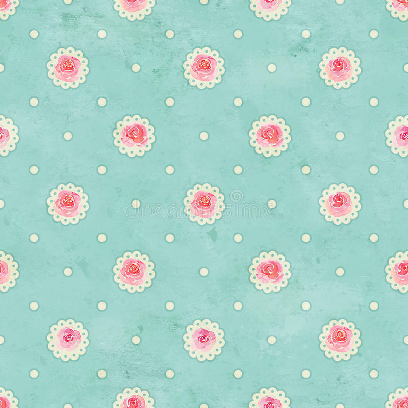 Vintage green seamless pattern with roses watercolor flower and dots. Vintage green seamless pattern with pink roses watercolor flower and dots stock images