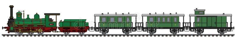 Vintage green steam passenger train. Hand drawing of a vintage green steam passenger train stock illustration