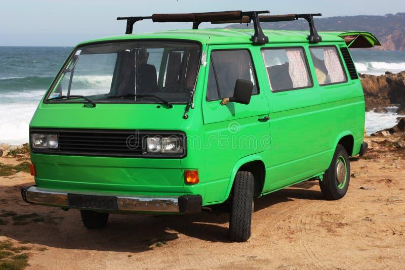 A vintage green van royalty free stock photo