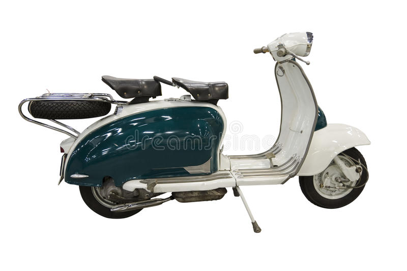 Vintage green and white scooter (path included) royalty free stock photos