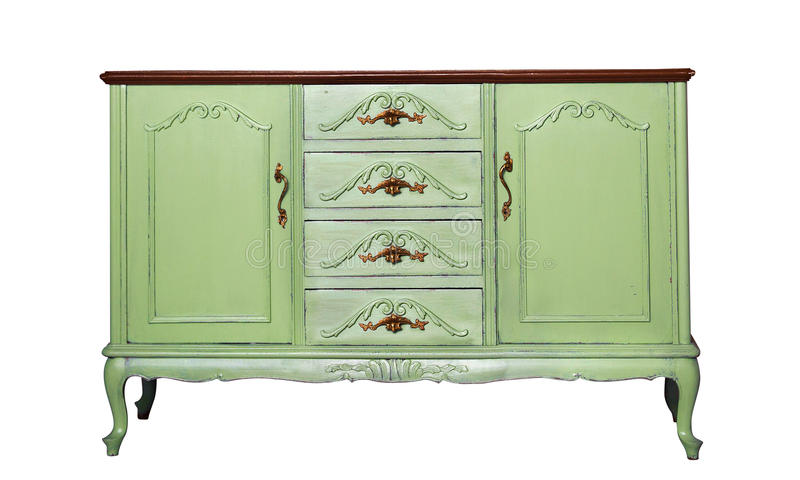 Vintage green wooden dresser isolated on white stock image