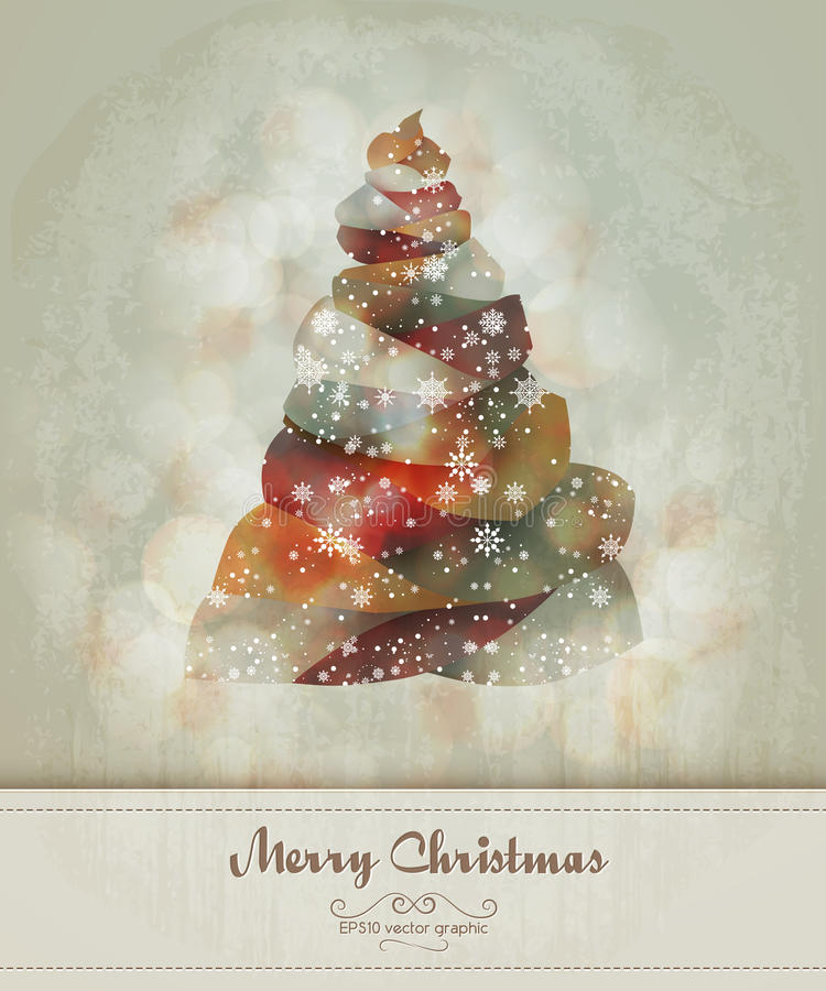 Vintage Greeting with Abstract Christmas Tree stock photography
