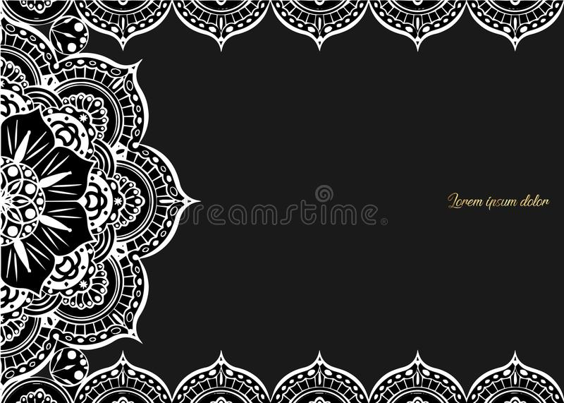Vintage greeting card on a black background. Luxury ornament template. Great for invitation, flyer, menu, brochure, postcar. D, background, wallpaper, decoration vector illustration
