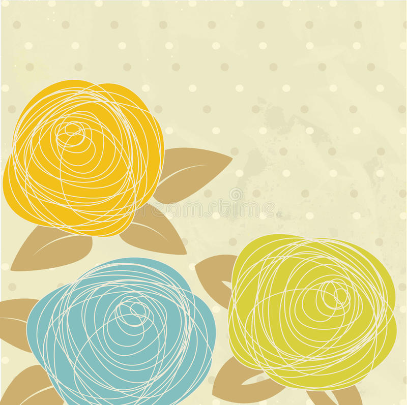 Vintage greeting card with hand drawn flowers stock illustration