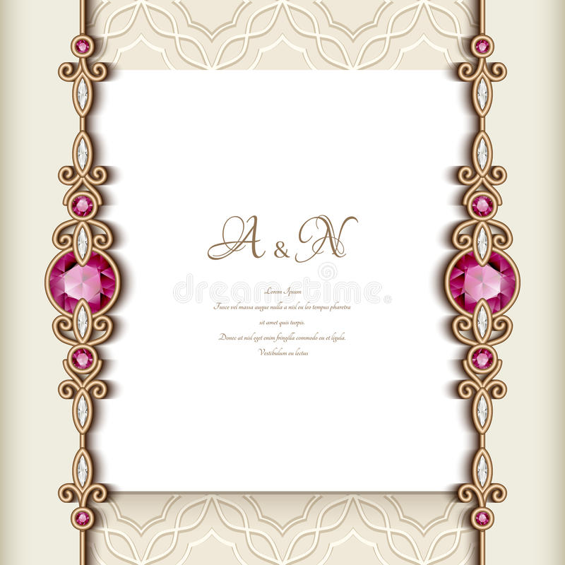 Vintage greeting card with jewelry borders stock vector download vintage greeting card with jewelry borders stock vector illustration of border curly stopboris Choice Image