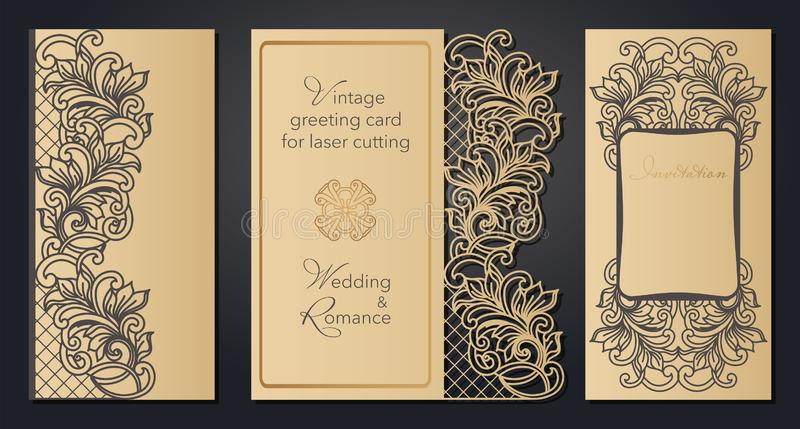 Vintage greeting card for laser cutting. Openwork pattern for a wedding, a romantic party in the Baroque style, Gatsby. stock illustration