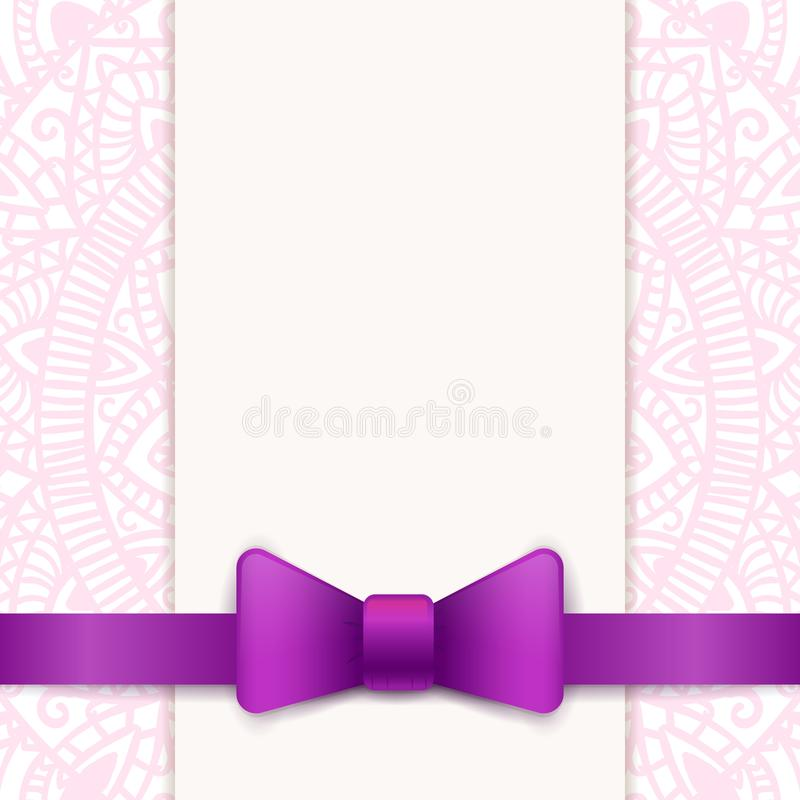 Vintage greeting card template. With violet bow and ribbon. Vector wedding invitation design. Anniversary template design for any celebration. Marriage stock illustration
