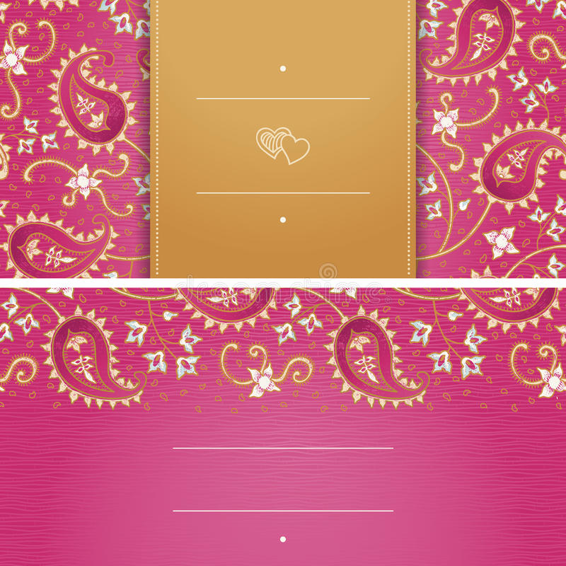 Vintage greeting cards with swirls and floral motifs in east style. stock illustration