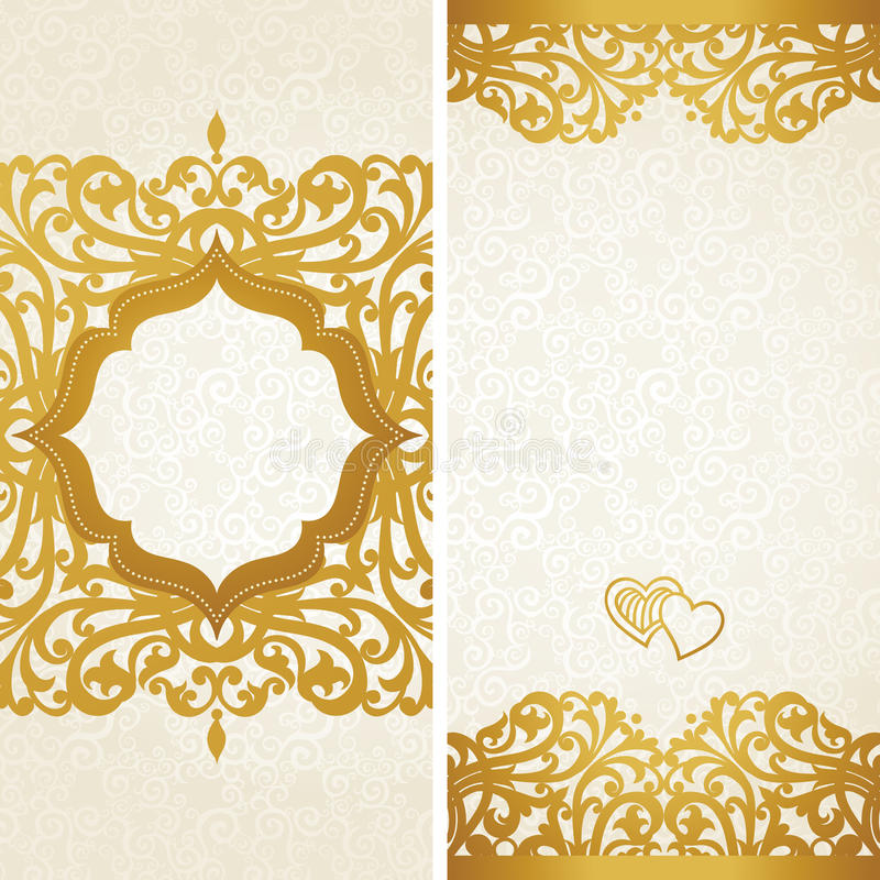Vintage greeting cards with swirls and floral motifs in retro style. royalty free illustration