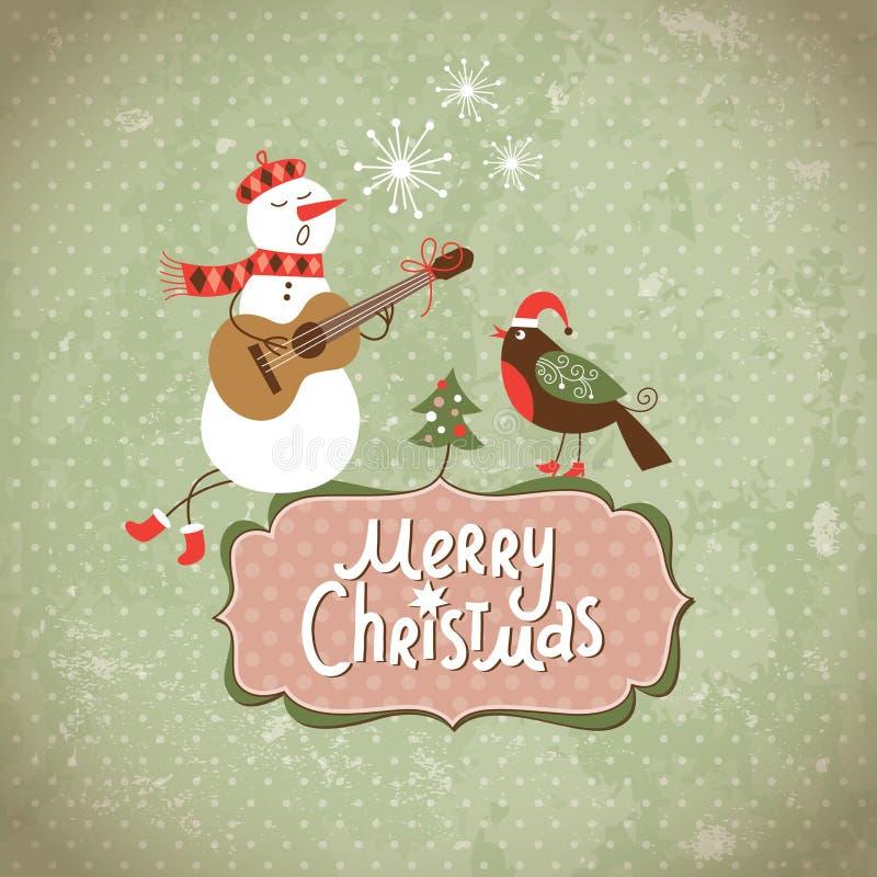 Vintage Greeting Christmas card stock illustration