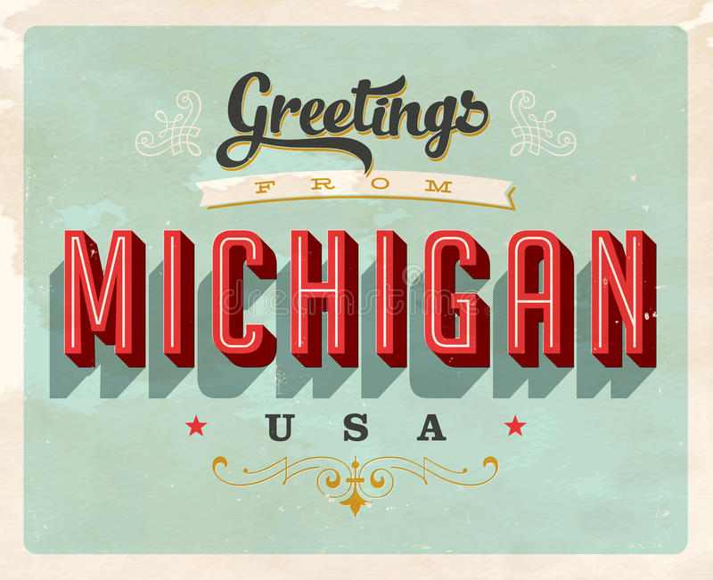 Vintage greetings from michigan vacation card stock vector download vintage greetings from michigan vacation card stock vector illustration of forties poster m4hsunfo