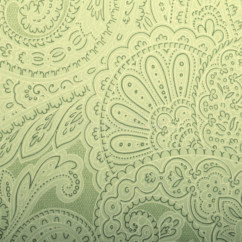 Download Vintage Grey And Green Wallpaper With Paisley Pattern Stock Image