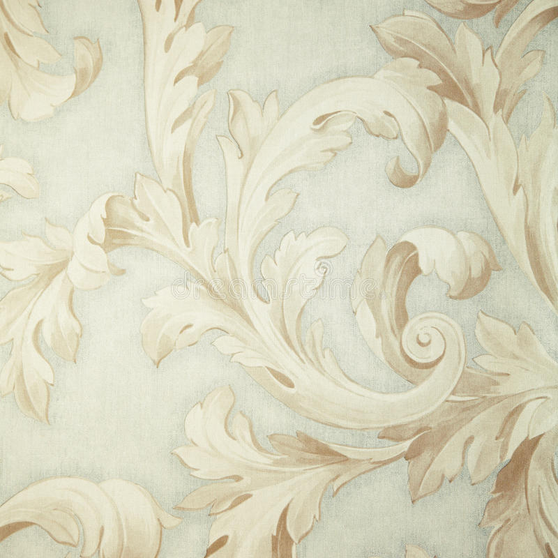 Vintage grey victorian wallpaper with beige baroque vignette. Square toned image, instagram effect stock photography