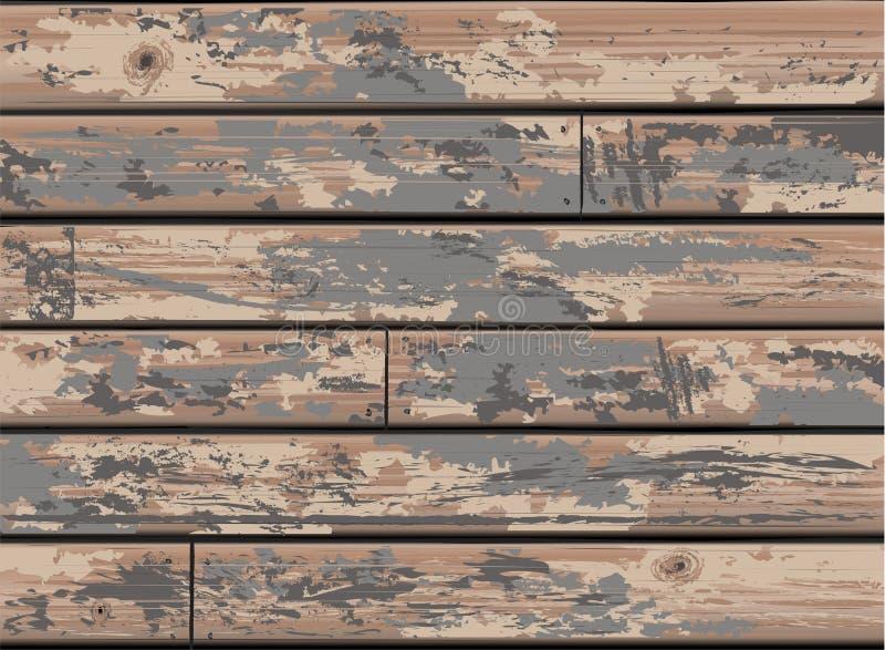 Vintage Grey Wooden Wall Background com madeira afligida velha ilustração royalty free