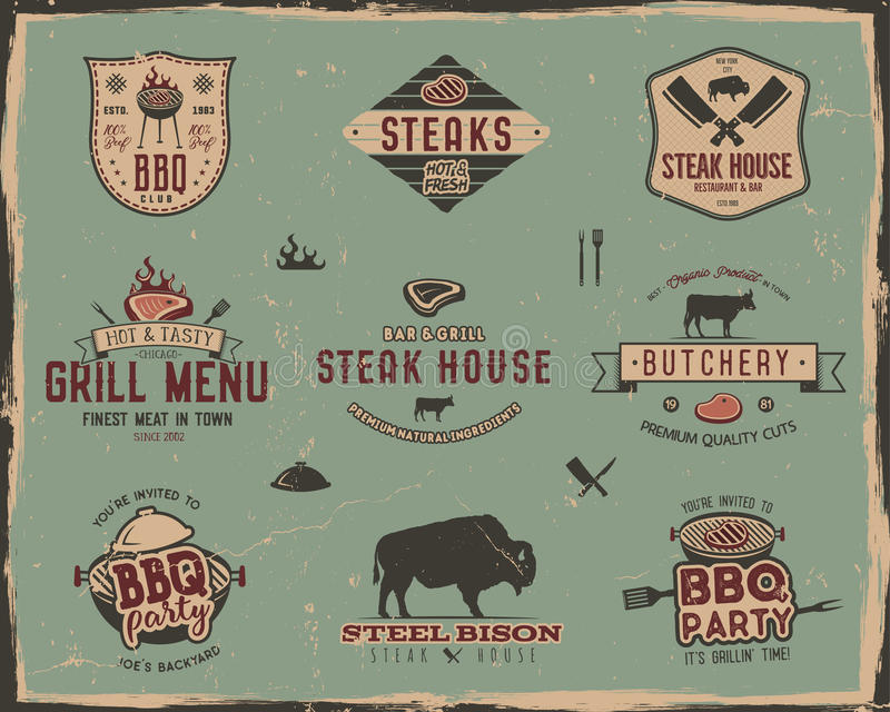 Vintage grill and steak house logo templates. Retro colors bbq, grill party badges, stamps and labels set. Symbols of vector illustration